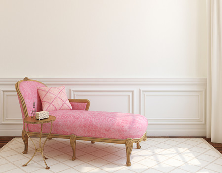 Photo pour Modern living-room interior with pink couch near empty white wall. 3d render. - image libre de droit