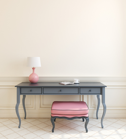 Photo pour Beautiful modern interior with gray table and pink ottoman near empty beige wall. 3d render. - image libre de droit
