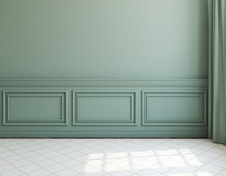 Photo pour Interior. Empty room with dack wall and light rug. 3d render. - image libre de droit
