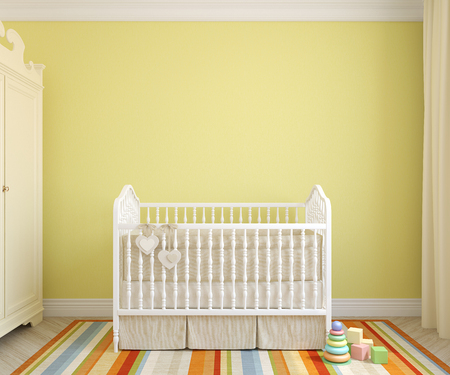 Foto de Colorful interior of nursery. Frontal view. 3d render. - Imagen libre de derechos
