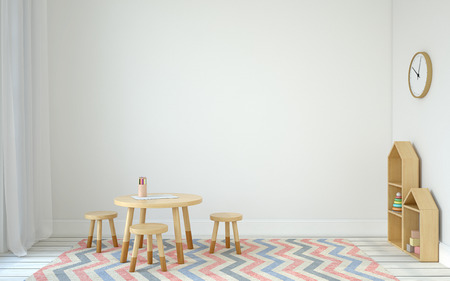 Photo pour Interior of playroom with small table and three chairs. Scandinavic style. 3d render. - image libre de droit