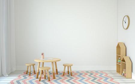 Foto de Interior of playroom with small table and three chairs. Scandinavic style. 3d render. - Imagen libre de derechos