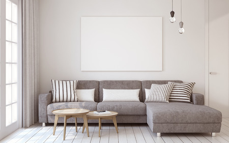 Photo pour Living-room interior in scandinavian style. Mock-up interior with poster. 3d render. - image libre de droit