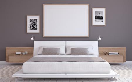 Photo for Modern bedroom interior. Frame mockup. 3d render. - Royalty Free Image