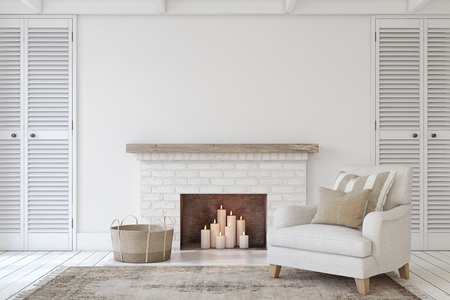 Foto de Interior with fireplace in farmhouse style. Interior mock-up. 3d render. - Imagen libre de derechos