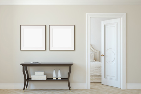 Photo pour Interior and frame mockup. Console table near beige wall. Two square frames on the wall. 3d render. - image libre de droit