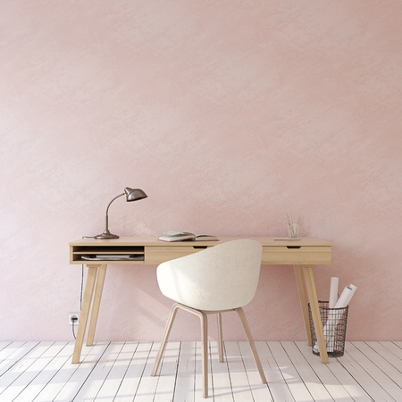 Foto de Home office. Interior mockup. Wooden desk near empty pink wall. 3d render. - Imagen libre de derechos