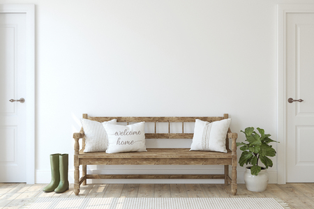 Foto de Farmhouse entryway. Wooden bench near white wall. Interior mockup. 3d render. - Imagen libre de derechos