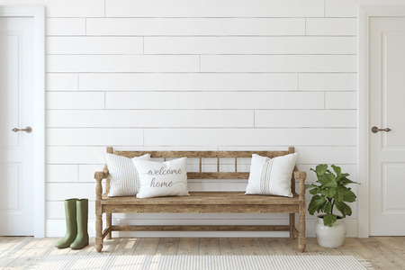Photo for Farmhouse entryway. Wooden bench near white shiplap wall. Interior mockup. 3d render. - Royalty Free Image