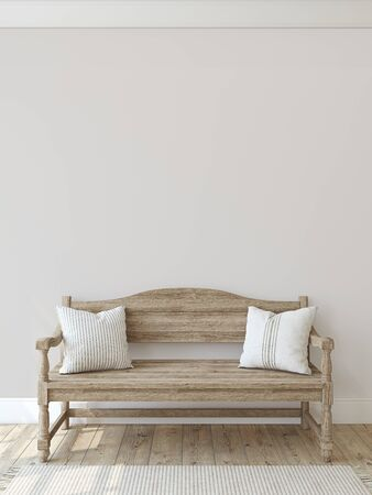 Photo for Farmhouse entryway. Wooden bench near empty wall. Interior mockup. 3d render. - Royalty Free Image
