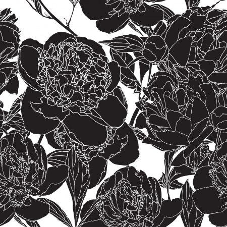 Elegance Seamless pattern with flowers peonies vector floral illustration in vintage style