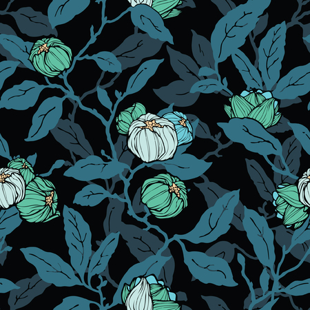 Illustration pour Floral seamless pattern. Abstract ornamental flowers. Flourish leaves background - image libre de droit