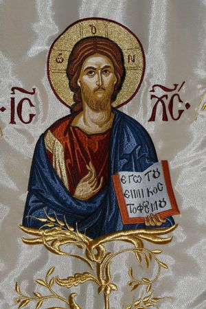 a fabric paint icon with Jesus