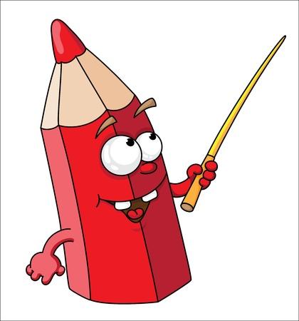 Illustration pour illustration of red school pencil - image libre de droit