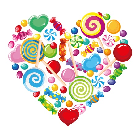 illustration of a candy heart white