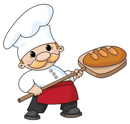 Vektor für An illustration of a baker with bread - Lizenzfreies Bild