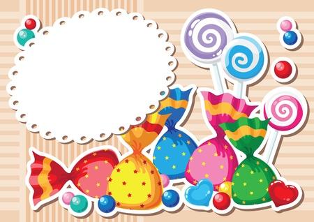 illustration of a candy sticker background