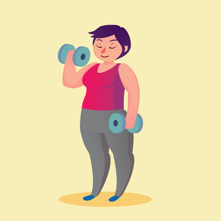 Obese young woman with dumbbells cartoon illustration