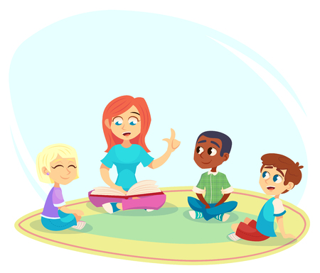Illustration for Female teacher read book, children sit on floor in circle and listen to her. Preschool activities and early childhood education. Cartoon vector illustration for poster, website. - Royalty Free Image