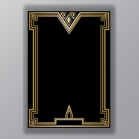 Illustration for Art Deco template golden-black, A4 page, menu, card, invitation, X symbol and coll triangles lines  ArtDeco/Art Nuvo style, beautiful bakcground . - Royalty Free Image