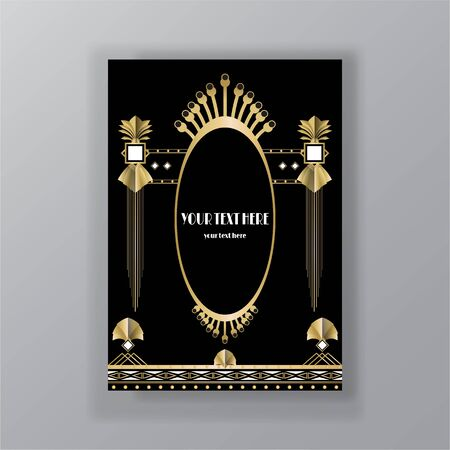 Illustration for Art Deco page template, retro  style for web and print, city and the lights pattern with golden lines. Modern design for menu or flyer, luxury gentle  - Royalty Free Image