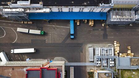 Photo for trucks are loaded at the factory top view - Royalty Free Image