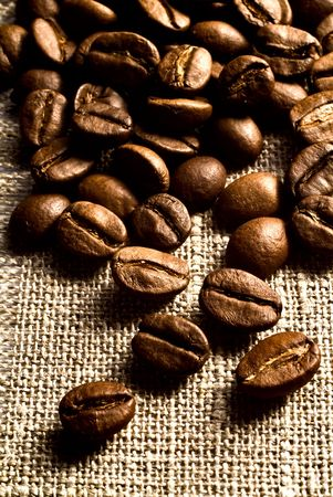 Coffee grains on a rough sacking