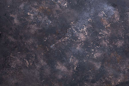 Foto de retro stone Concrete dark brown gray background with old absolete scuffs and black splashes. Grungy paint Textured floor or wall cement texture in the grunge style. Space for text - Imagen libre de derechos