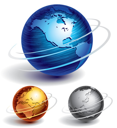Illustration for Three brushed metal globes. Eps8. CMYK. Organized by layers. Global colors. Gradients used. - Royalty Free Image