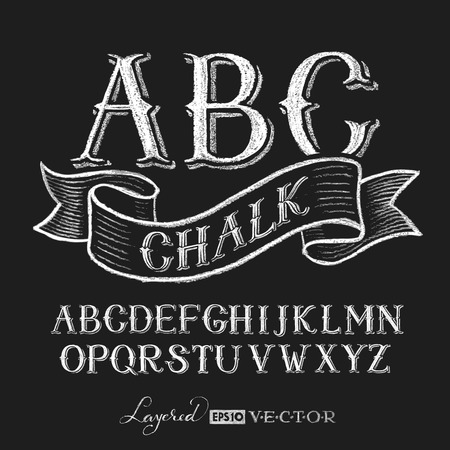 Illustration pour Decorative capital letters hand drawn on a chalkboard.  Transparency used. RGB. Global colors. Gradients free. Each elements are grouped separately - image libre de droit