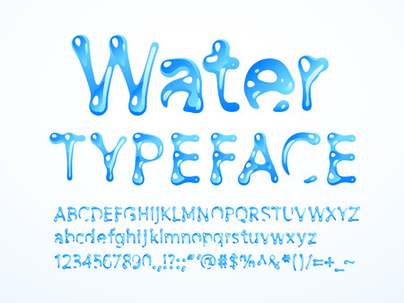 Illustration for water typeface. Letters A-Z, a-z, numbers and symbols. RGB. Global colors - Royalty Free Image