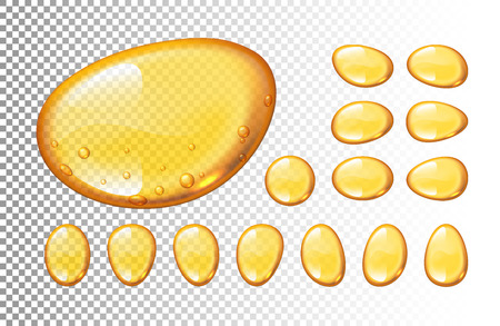Set of vector honey drops on transparent background