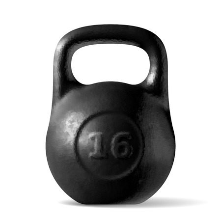Illustration for Vector realistic rough black kettlebell 16 kg isolated on white background - Royalty Free Image