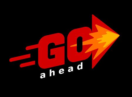 Ilustración de Word Go with arrow. Red vector lettering on black background - Imagen libre de derechos