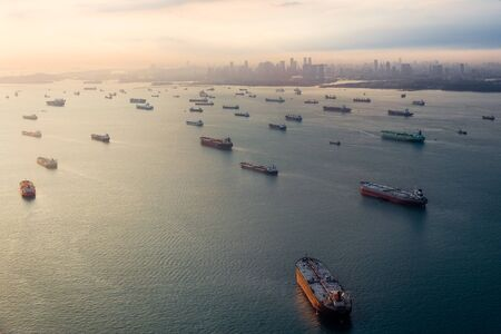 Empty cargo ships in Singapore
