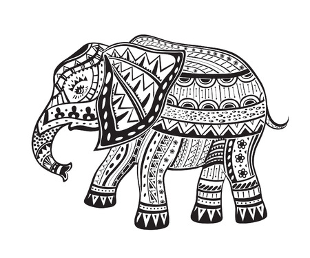 The stylized figure of an elephant in the festive patternsのイラスト素材