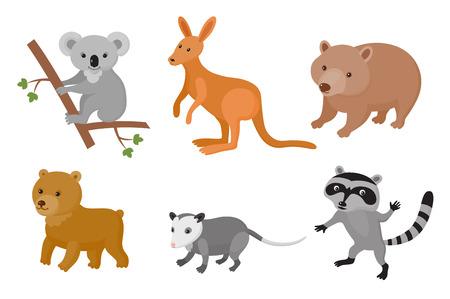 Illustration pour Zoo wild animals colorful set. Vector illustration. Mammals isolate on white background - image libre de droit