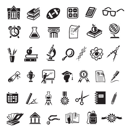 Ilustración de Education icon set in minimalist style. Black sign on white background. Books, globe, dna, scissors, bal, retort, beaker, calculator, cup winner, alarm clock, apple, spectacles - Imagen libre de derechos