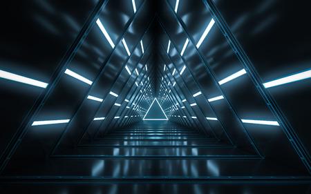 Foto de Abstract illuminated empty corridor interior design, Future concept. 3D rendering. - Imagen libre de derechos