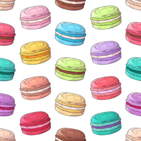Illustration pour Vector hand drawn pattern. Realistic french dessert - macaroons. Each object can be changed and moved for your design. - image libre de droit