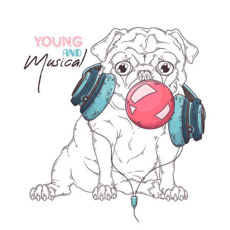 Illustration for Vector hand drawn illustrations. Portrait of cute pug dog in musical headphones inflates a bubble of gum. Each object can be changed and moved for your design. - Royalty Free Image