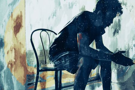 Photo pour Digital painting of sad man thinking something in bed room, illustration of depression of people - image libre de droit