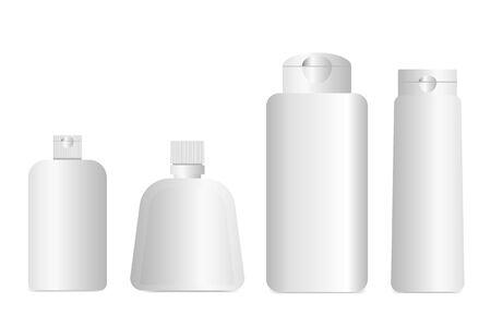 Illustration pour 3D plastic bottles for cosmetics, medicines, shampoos or lotions packaging, liquid cosmetic templates, mockup image - image libre de droit