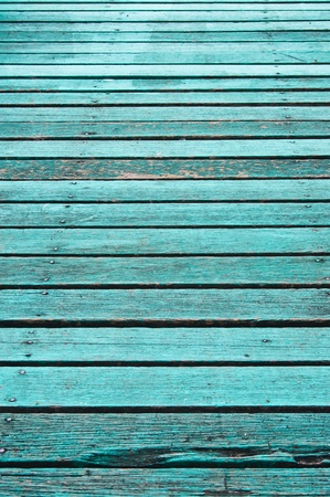 Texture of old blue wood boards.