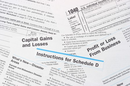 IRS Federal Income Tax Forms 1040 and Schedule D: Royalty