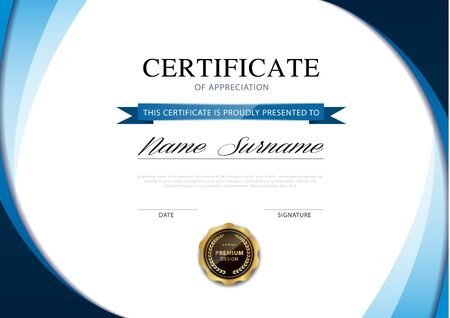 Illustration pour diploma certificate template blue and gold color with luxury and modern style vector image. - image libre de droit