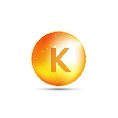 Illustration pour vitamin K, yellow capsule. yellow bubble, realistic vector design - image libre de droit