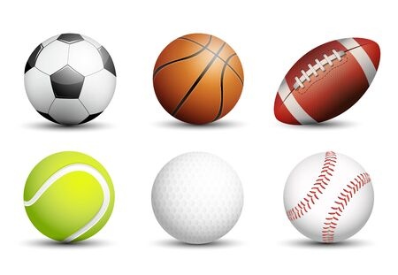 Illustration pour Soccer, Basketball, American football, Tennis, Golf and Baseball as healthy recreation and leisure fun activities for team and individual playing for health vector design. - image libre de droit