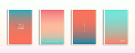 Illustration for Minimal modern cover design. Dynamic colorful gradients. Future geometric patterns. Blue, pink, yellow, green, orange, purple placard poster template. - Royalty Free Image