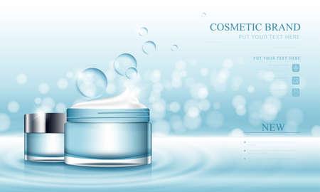 Illustration pour Cosmetic design template on glitter blue vector background. - image libre de droit